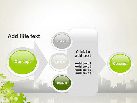 Puzzle Pieces on City Background PowerPoint Template Slide 17