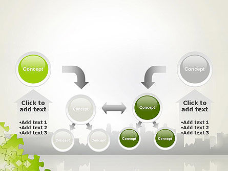 Puzzle Pieces on City Background PowerPoint Template Slide 19