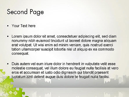 Puzzle Pieces on City Background PowerPoint Template Slide 2