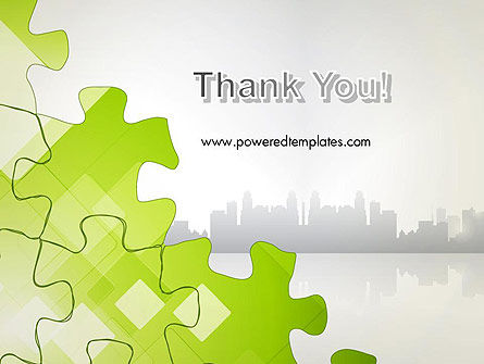 Puzzle Pieces on City Background PowerPoint Template Slide 20