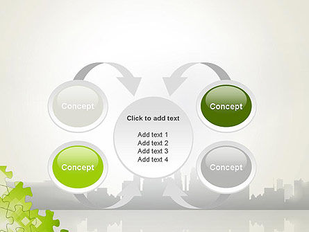Puzzle Pieces on City Background PowerPoint Template Slide 6