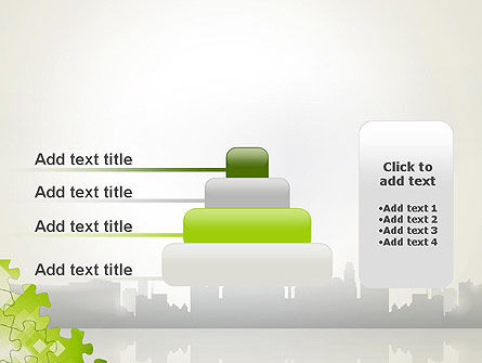 Puzzle Pieces on City Background PowerPoint Template Slide 8