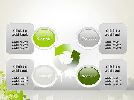 Puzzle Pieces on City Background PowerPoint Template Slide 9