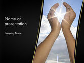 Nature & Environment: Sun in Hands PowerPoint Template #12562