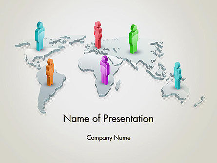 Business: Stickman Standing on World Map PowerPoint Template #12566