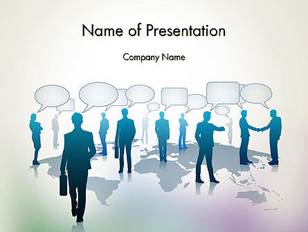 People Silhouettes with Speech Bubbles PowerPoint Template