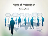People: People Silhouettes with Speech Bubbles PowerPoint Template #12578