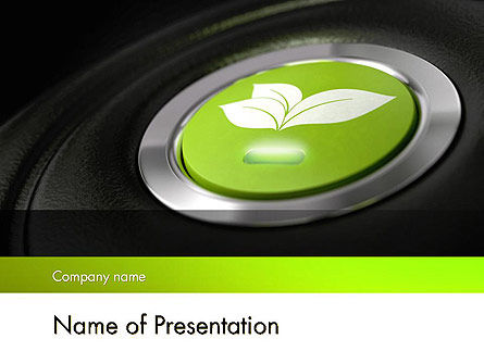 Technology and Science: Green Start Engine Button PowerPoint Template #12581