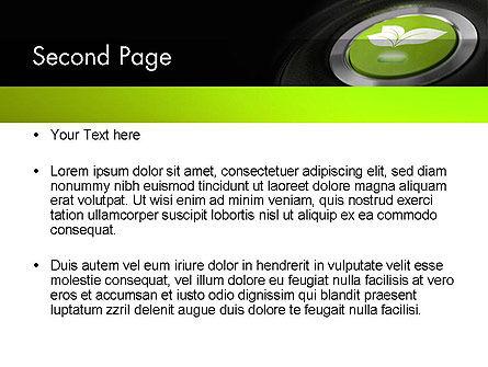 Green Start Engine Button PowerPoint Template, Slide 2, 12581, Technology and Science — PoweredTemplate.com