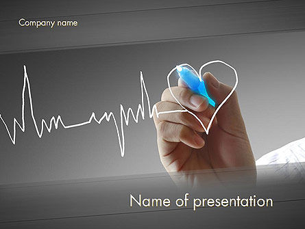 Medical: Heart with Heart Rhythm PowerPoint Template #12608