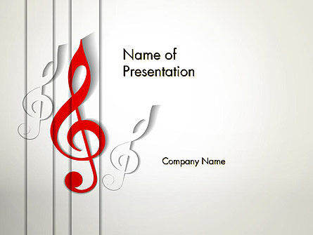 Red Treble Clef PowerPoint Template, 12637, Art & Entertainment — PoweredTemplate.com