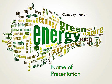 Green Energy Word Cloud PowerPoint Template, 12640, Nature & Environment — PoweredTemplate.com