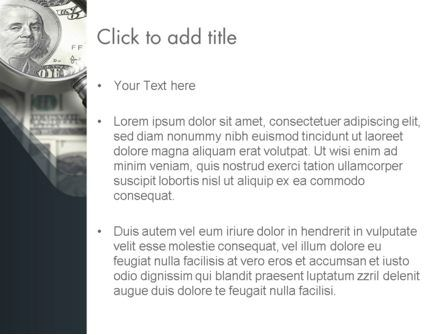 Dollar Through Magnifier PowerPoint Template, Slide 3, 12653, Financial/Accounting — PoweredTemplate.com