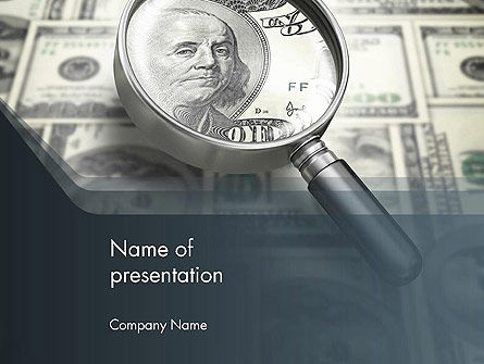 Dollar Through Magnifier PowerPoint Template, 12653, Financial/Accounting — PoweredTemplate.com
