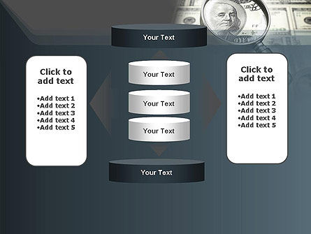 Dollar Through Magnifier PowerPoint Template Slide 13