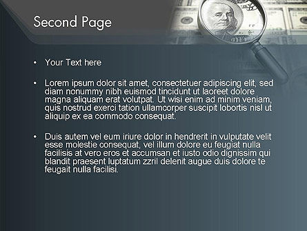 Dollar Through Magnifier PowerPoint Template, Slide 2, 12653, Financial/Accounting — PoweredTemplate.com