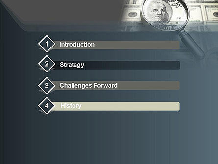 Dollar Through Magnifier PowerPoint Template, Slide 3, 12653, Financial/Accounting — PoweredTemplate.com