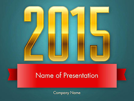 2015 Gold Numbers PowerPoint Template
