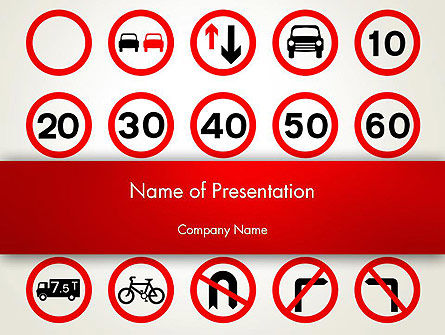 Traffic Signs PowerPoint Template, 12656, Education & Training — PoweredTemplate.com
