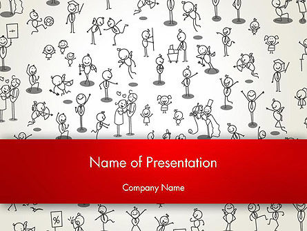 Art & Entertainment: Funny Stickman Background PowerPoint Template #12658