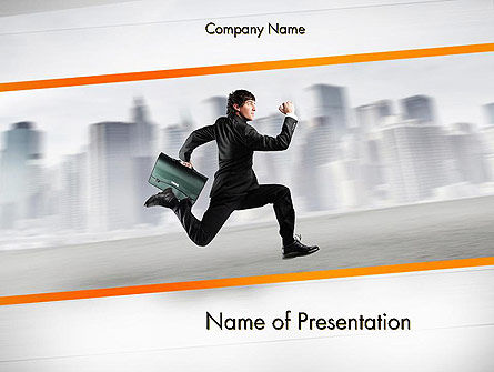 Rushing Businessman PowerPoint Template, 12672, Business Concepts — PoweredTemplate.com