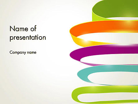 Abstract/Textures: Color Ribbons on White PowerPoint Template #12678