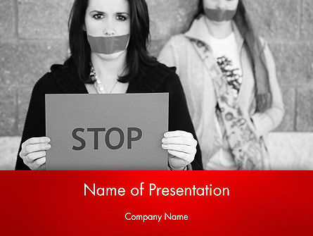 People: Protesteren Meisje PowerPoint Template #12680