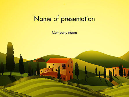 Valley Village PowerPoint Template, 12683, Agriculture — PoweredTemplate.com