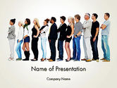 People Standing in Line PowerPoint Template#1