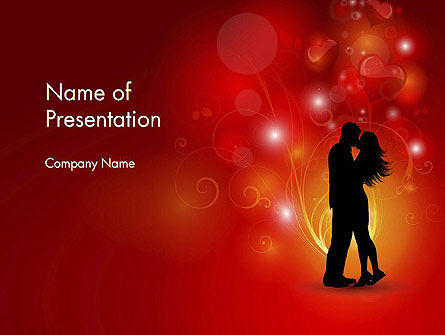 Love Theme with Silhouette of Lovers PowerPoint Template, 12688, Holiday/Special Occasion — PoweredTemplate.com