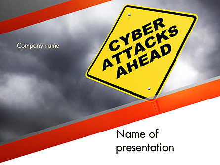 Cyber Attacks Sign PowerPoint Template, 12709, Careers/Industry — PoweredTemplate.com