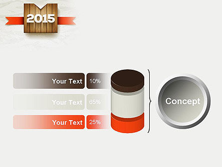 2015 on Wooden Surface with Ribbon PowerPoint Template Slide 11
