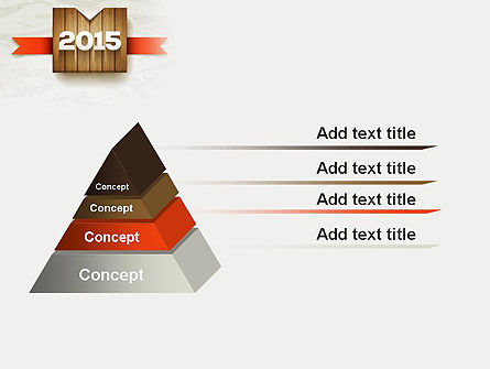 2015 on Wooden Surface with Ribbon PowerPoint Template Slide 12