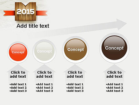 2015 on Wooden Surface with Ribbon PowerPoint Template Slide 13