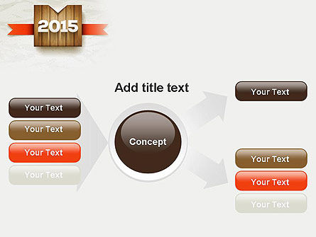 2015 on Wooden Surface with Ribbon PowerPoint Template Slide 14
