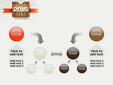 2015 on Wooden Surface with Ribbon PowerPoint Template Slide 19