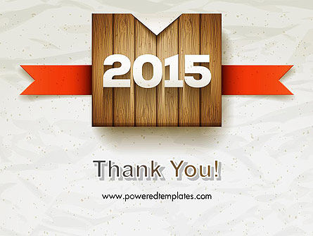 2015 on Wooden Surface with Ribbon PowerPoint Template Slide 20