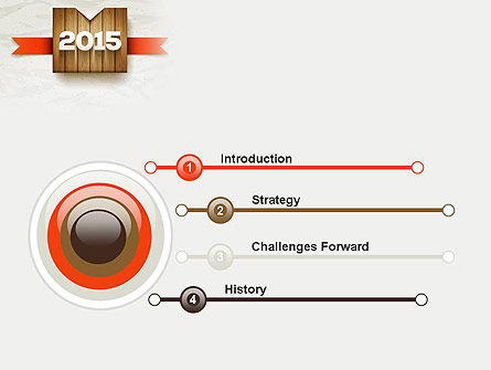 2015 on Wooden Surface with Ribbon PowerPoint Template Slide 3