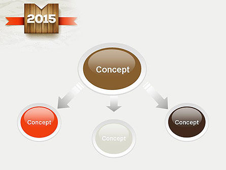 2015 on Wooden Surface with Ribbon PowerPoint Template Slide 4