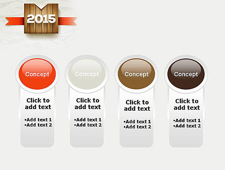 2015 on Wooden Surface with Ribbon PowerPoint Template Slide 5