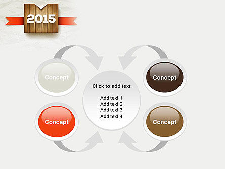 2015 on Wooden Surface with Ribbon PowerPoint Template Slide 6