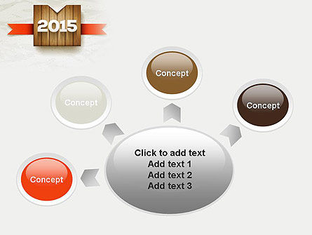 2015 on Wooden Surface with Ribbon PowerPoint Template Slide 7