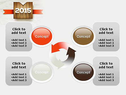 2015 on Wooden Surface with Ribbon PowerPoint Template Slide 9