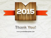2015 on Wooden Surface with Ribbon PowerPoint Template#20