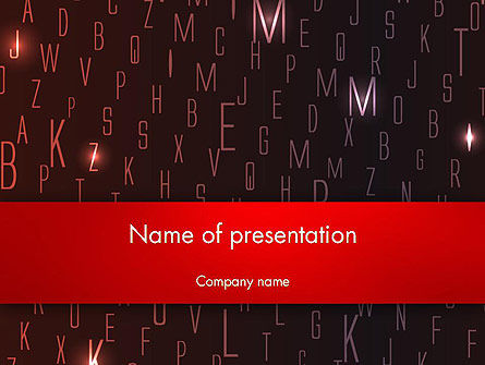 Red Letters on Black Background PowerPoint Template, 12734, Abstract/Textures — PoweredTemplate.com