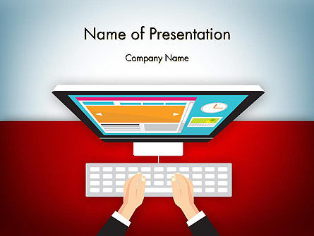 Business: Working on PC PowerPoint Template #12749