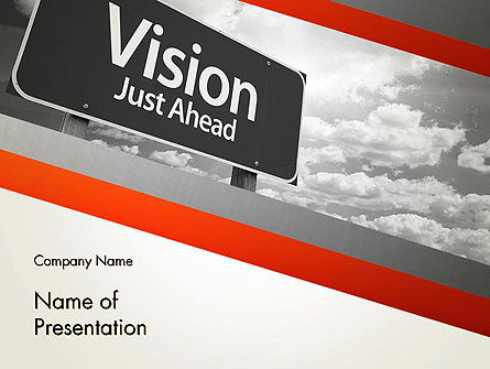 Vision Just Ahead Sign PowerPoint Template, 12752, Business Concepts — PoweredTemplate.com