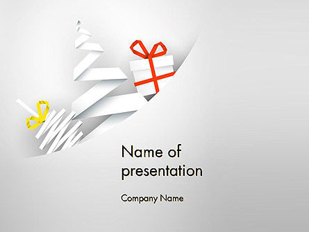 White Christmas Card PowerPoint Template, 12773, Holiday/Special Occasion — PoweredTemplate.com