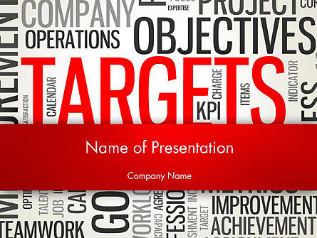 Business Concepts: Objectives and Targets Word Cloud PowerPoint Template #12792