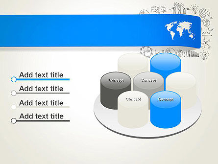 World Map and Charts PowerPoint Template Slide 12